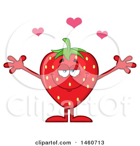 Clipart of a Strawberry Mascot Character with Hearts and Open Arms - Royalty Free Vector Illustration by Hit Toon