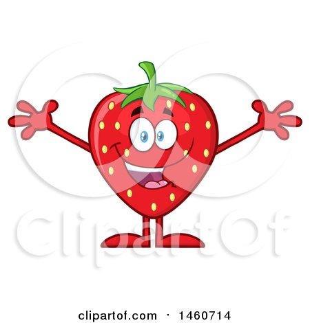 Clipart of a Strawberry Mascot Character Cheering or Welcoming - Royalty Free Vector Illustration by Hit Toon