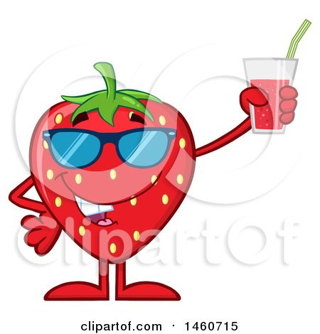 Clipart of a Strawberry Mascot Character Wearing Sunglasses and Holding a Glass of Juice - Royalty Free Vector Illustration by Hit Toon