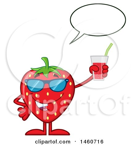 Clipart of a Strawberry Mascot Character Wearing Sunglasses, Talking and Holding a Glass of Juice - Royalty Free Vector Illustration by Hit Toon