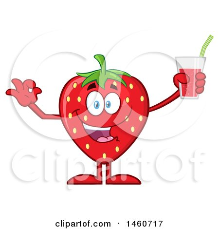 Clipart of a Strawberry Mascot Character Gesturing Perfect and Holding a Glass of Juice - Royalty Free Vector Illustration by Hit Toon