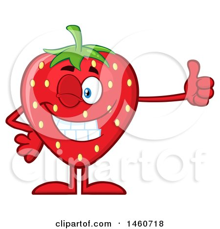 Clipart of a Strawberry Mascot Character Giving a Thumb up - Royalty Free Vector Illustration by Hit Toon