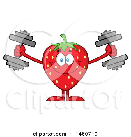 Clipart of a Strawberry Mascot Character Working out with Dumbbells - Royalty Free Vector Illustration by Hit Toon