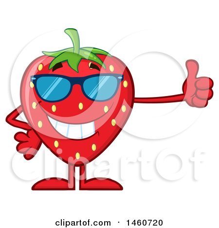 Clipart of a Strawberry Mascot Character Wearing Sunglasses and Giving a Thumb up - Royalty Free Vector Illustration by Hit Toon