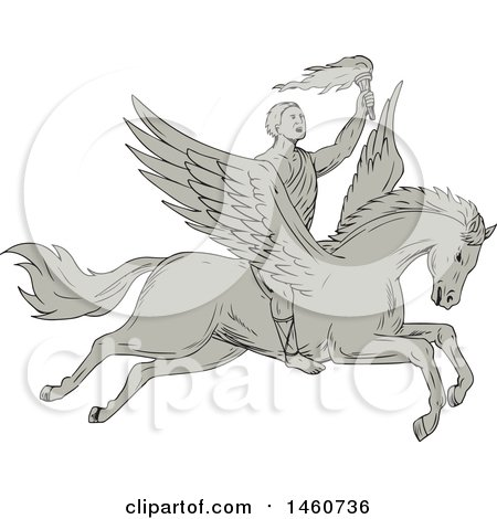 Clipart of a Bellerophon Hero Riding Pegasus in Sketched Drawing Style - Royalty Free Vector Illustration by patrimonio