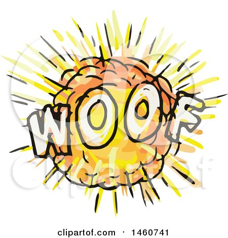 Clipart of a Cartoon Comic Woof Explosion - Royalty Free Vector Illustration by patrimonio