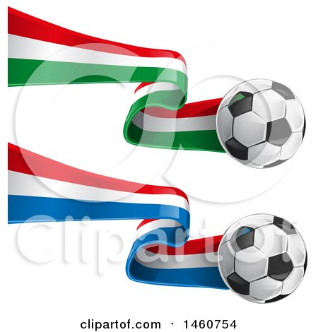 Clipart of 3d Soccer Balls and French and Italian Flags - Royalty Free Vector Illustration by Domenico Condello