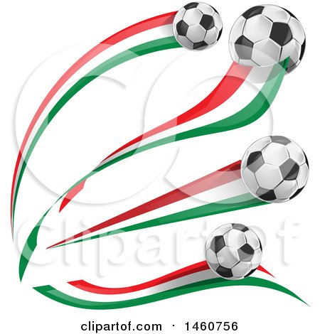Clipart of 3d Soccer Balls and Italian Flags - Royalty Free Vector Illustration by Domenico Condello