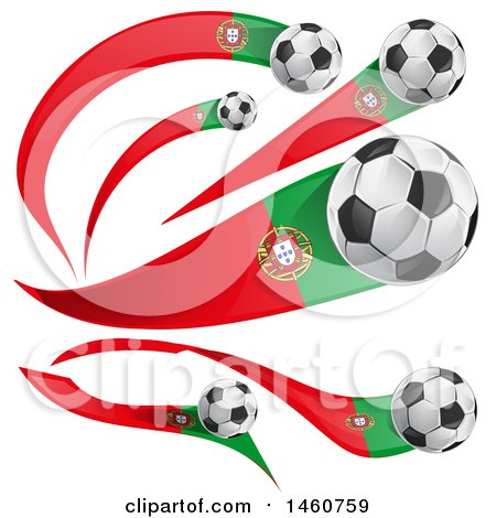 Clipart of 3d Soccer Balls and Portuguese Flags - Royalty Free Vector Illustration by Domenico Condello