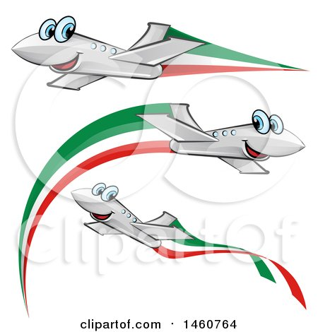Clipart of Happy Airplanes with Italian Flags - Royalty Free Vector Illustration by Domenico Condello
