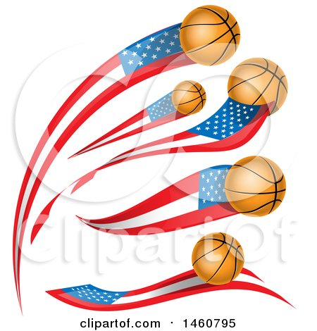 Clipart of American Flag and Basketball Banners - Royalty Free Vector Illustration by Domenico Condello