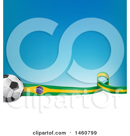 Clipart of a 3d Soccer Balls and Brazilian Flag Ribbon over White Space and Gradient Blue - Royalty Free Vector Illustration by Domenico Condello