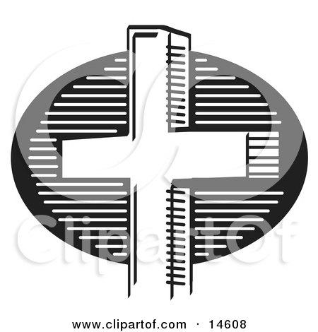 Black And White Church Cross Clipart Illustration