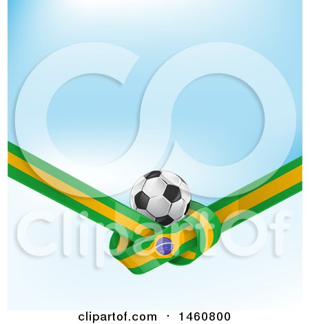 Clipart of 3d Soccer Ball and Tied Brazilian Flag over Blue - Royalty Free Vector Illustration by Domenico Condello