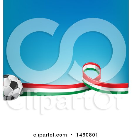 Clipart of a 3d Soccer Balls and Italian Flag Ribbon over White Space and Gradient Blue - Royalty Free Vector Illustration by Domenico Condello