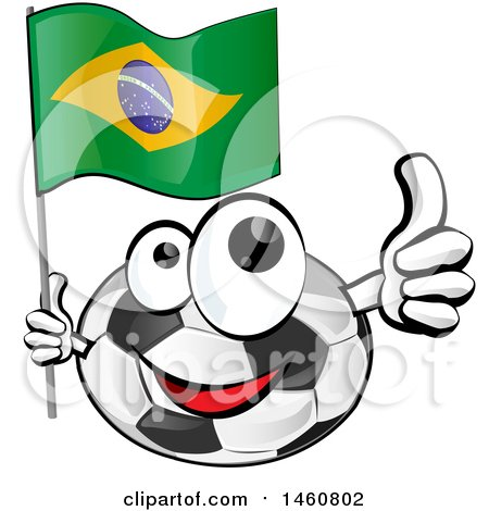 Clipart of a Soccer Ball Mascot Giving a Thumb up and Holding a Brazilian Flag - Royalty Free Vector Illustration by Domenico Condello