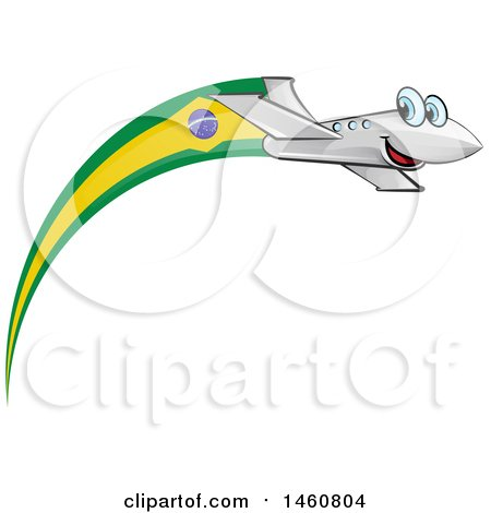 Clipart of a Happy Airplane with a Brazil Flag - Royalty Free Vector Illustration by Domenico Condello