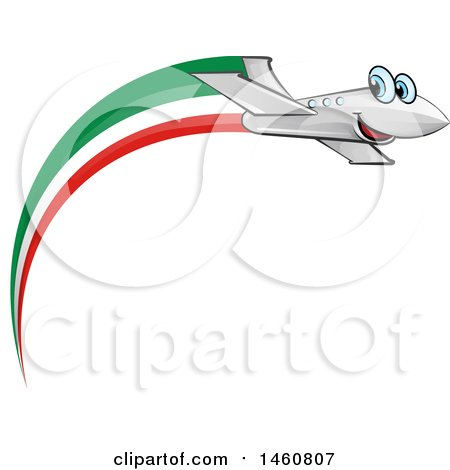 Clipart of a Happy Airplane with an Italian Flag - Royalty Free Vector Illustration by Domenico Condello