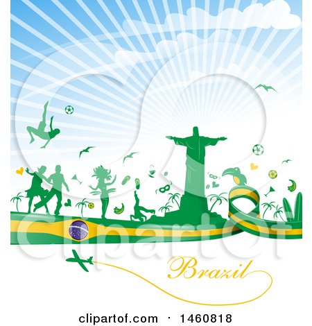 Clipart of a Brazil Flag and Travel Background - Royalty Free Vector Illustration by Domenico Condello