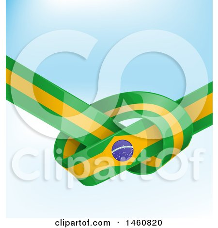 Clipart of a Brazil Flag Banner Knot Background - Royalty Free Vector Illustration by Domenico Condello