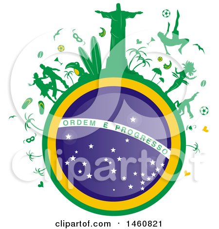 Clipart of a Brazil Flag Globe and Icons - Royalty Free Vector Illustration by Domenico Condello