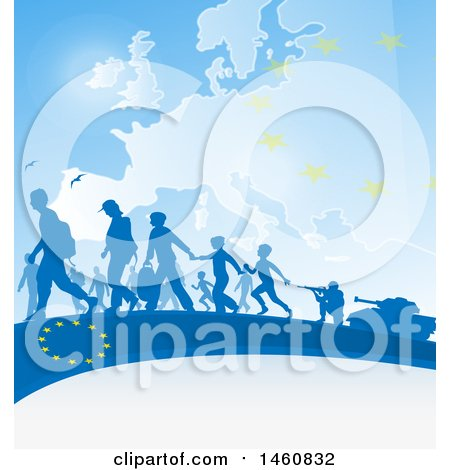 Clipart of a European Flag and Immigration Background - Royalty Free Vector Illustration by Domenico Condello
