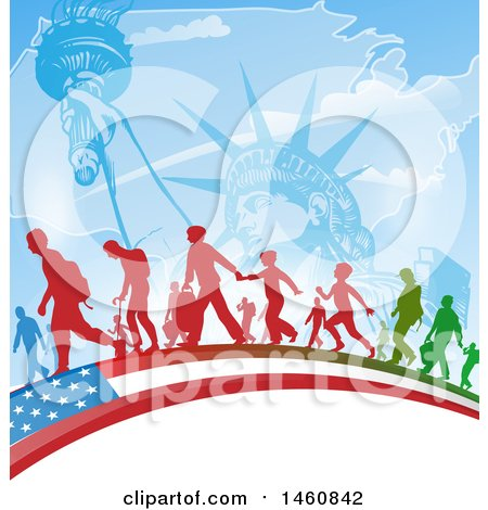 Clipart of an American Flag, Immigrants and Statue of Liberty Background - Royalty Free Vector Illustration by Domenico Condello