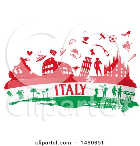 Clipart of an Italian Flag and Icons - Royalty Free Vector Illustration by Domenico Condello