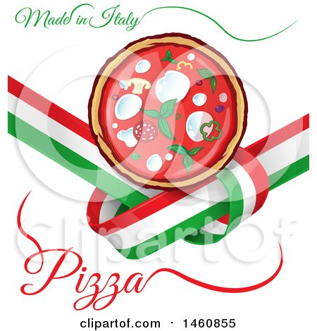 Clipart of an Italian Flag and Pizza Design - Royalty Free Vector Illustration by Domenico Condello