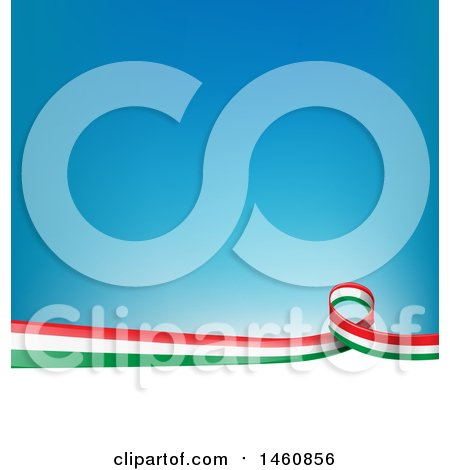 Clipart of an Italian Flag Background - Royalty Free Vector Illustration by Domenico Condello