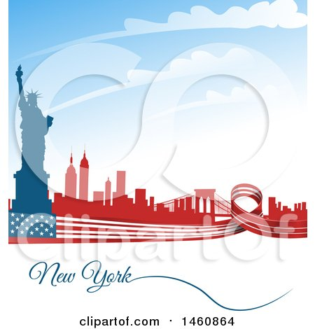 Clipart of an American Flag and Statue of Liberty New York Background - Royalty Free Vector Illustration by Domenico Condello