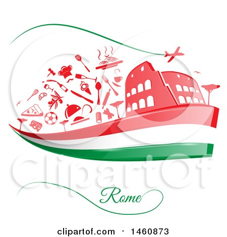 Clipart of an Italian Flag and Rome Icons - Royalty Free Vector Illustration by Domenico Condello