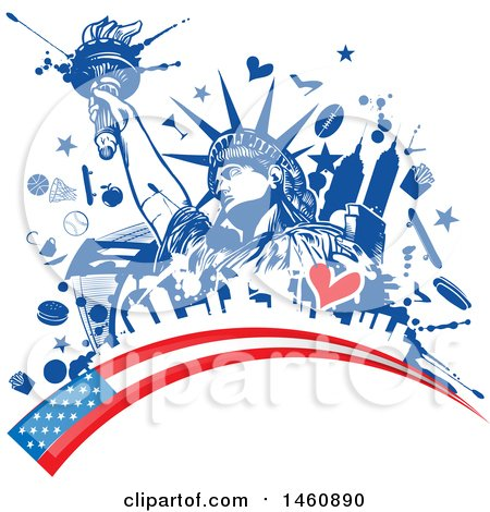Clipart of a Statue of Liberty and American Flag Design - Royalty Free Vector Illustration by Domenico Condello
