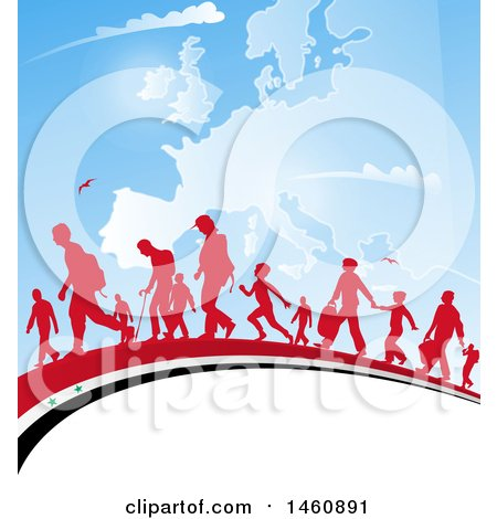 Clipart of a Group of Silhouetted Immigrants Walking on a Syrian Flag over a Europe Map - Royalty Free Vector Illustration by Domenico Condello