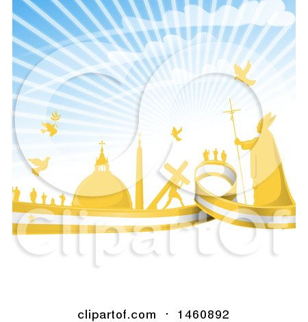 Clipart of a Pope and Vatican City Background with a Flag and Rays - Royalty Free Vector Illustration by Domenico Condello
