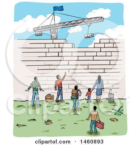 Clipart of a Sketch of People at a Border Wall Being Built by a Crane, with an European Flag - Royalty Free Vector Illustration by Domenico Condello
