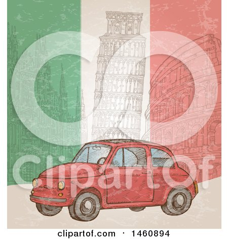 Clipart of a Sketched Italian Flag and Car Background - Royalty Free Vector Illustration by Domenico Condello