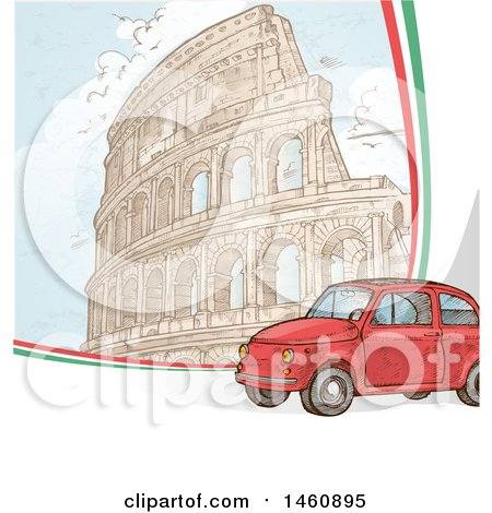 Clipart of a Sketched Coliseum and Car - Royalty Free Vector Illustration by Domenico Condello