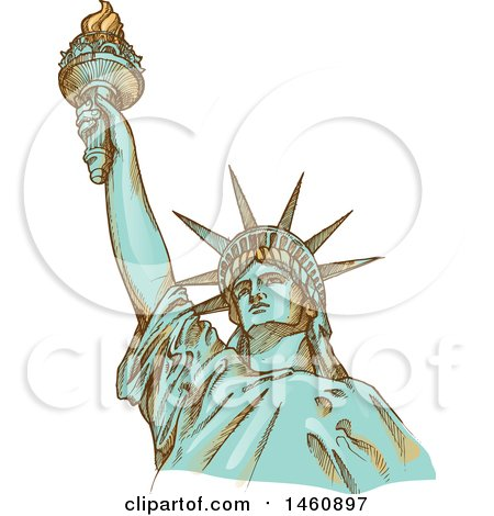 Clipart of a Sketched Statue of Liberty - Royalty Free Vector Illustration by Domenico Condello