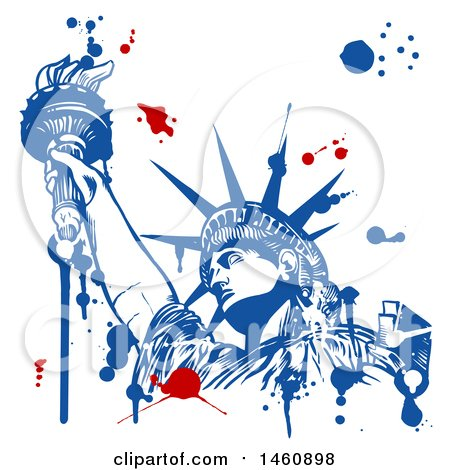 Clipart of a Statue of Liberty and Splatter Design - Royalty Free Vector Illustration by Domenico Condello