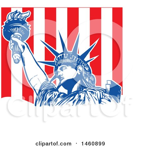 Clipart of a Statue of Liberty and Stripes Design - Royalty Free Vector Illustration by Domenico Condello