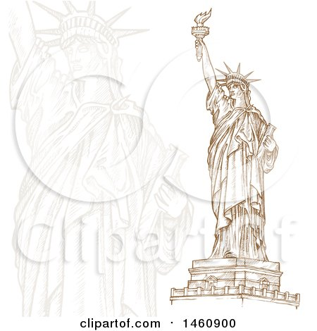 Clipart of a Sketched Statue of Liberty Design - Royalty Free Vector Illustration by Domenico Condello