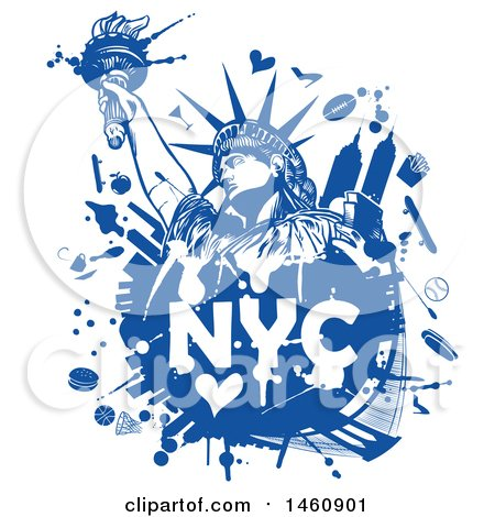 Clipart of a Blue NYC Statue of Liberty Design - Royalty Free Vector Illustration by Domenico Condello