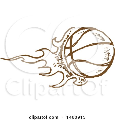 Clipart of a Sketched Brown Flaming Basketball - Royalty Free Vector Illustration by Domenico Condello