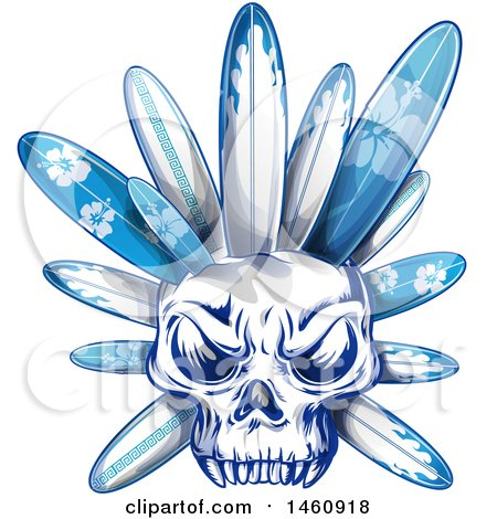 Clipart of a Human Skull with Blue Surfboards - Royalty Free Vector Illustration by Domenico Condello