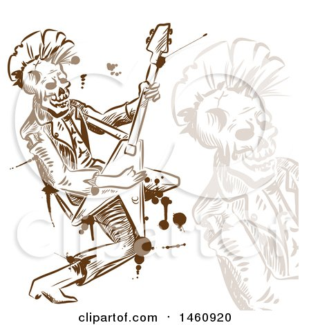Clipart of a Sketched Rock and Roll Skull Musician - Royalty Free Vector Illustration by Domenico Condello