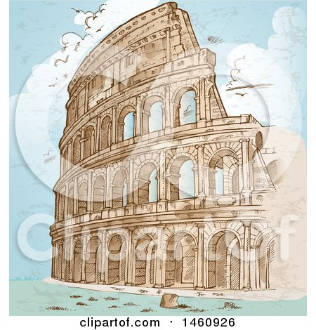 Clipart of a Sketched Coliseum - Royalty Free Vector Illustration by Domenico Condello