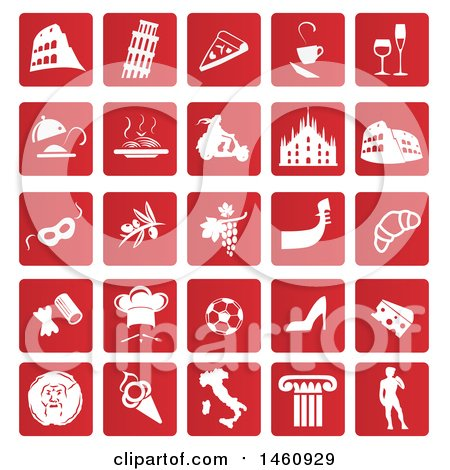 Clipart of Red and White Italian Icons - Royalty Free Vector Illustration by Domenico Condello