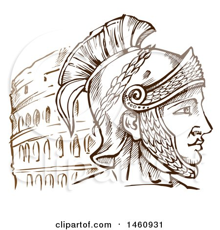 Clipart of a Sketched Roman Warrior and Coliseum - Royalty Free Vector Illustration by Domenico Condello