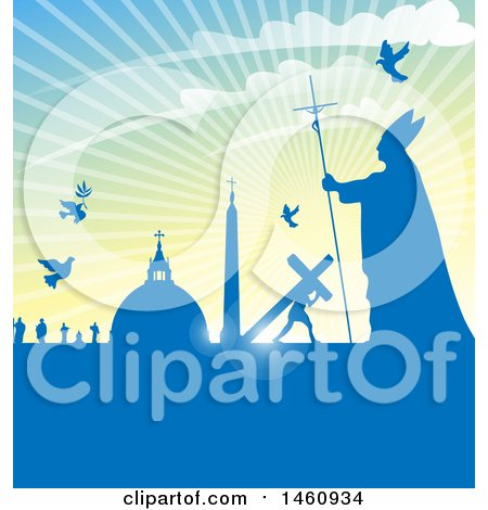 Clipart of a Pope and Vatican City Background - Royalty Free Vector Illustration by Domenico Condello
